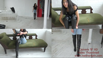 girl-in-leather-boots-overknee-putting-on-walking